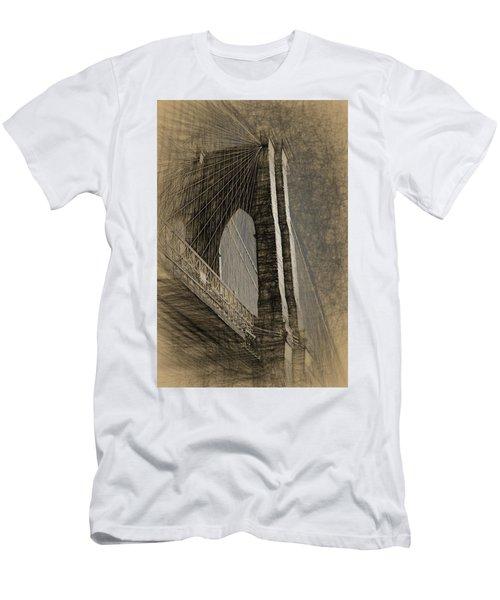 Pencil Sketch Of The Brooklyn Bridge Men's T-Shirt (Athletic Fit)