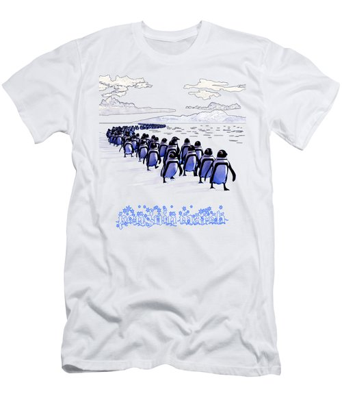 Penguin March Men's T-Shirt (Slim Fit) by Methune Hively