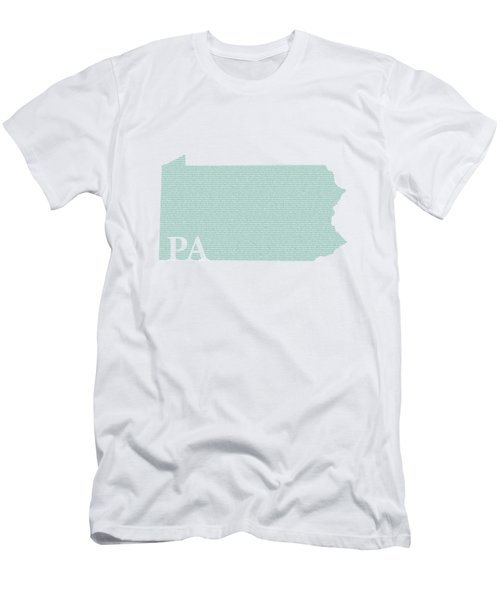 Pennsylvania State Map With Text Of Constitution Men's T-Shirt (Athletic Fit)