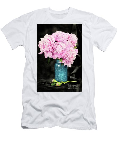 Peonies In A Blue Mason Jar Men's T-Shirt (Athletic Fit)