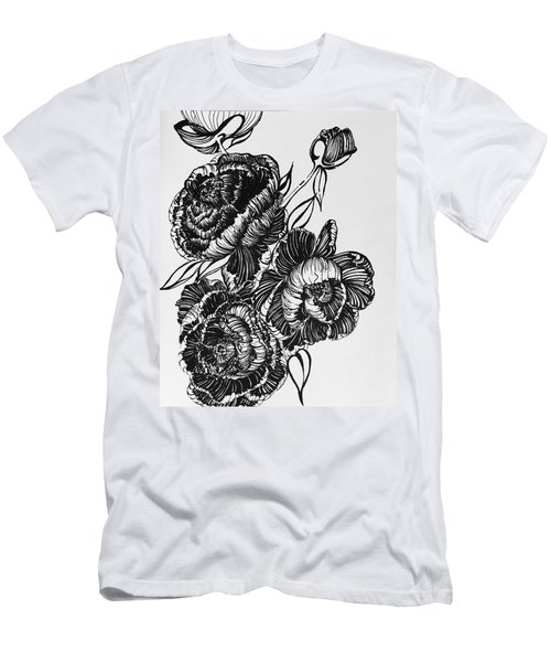 Peonies Line Drawing Men's T-Shirt (Athletic Fit)
