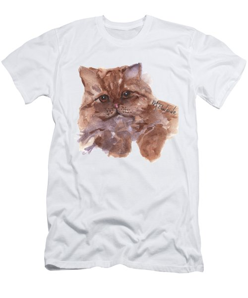 Persian Cat By Kmcelwaine Men's T-Shirt (Slim Fit) by Kathleen McElwaine