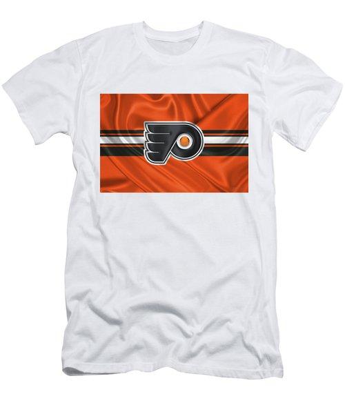Philadelphia Flyers - 3 D Badge Over Silk Flag Men's T-Shirt (Slim Fit) by Serge Averbukh