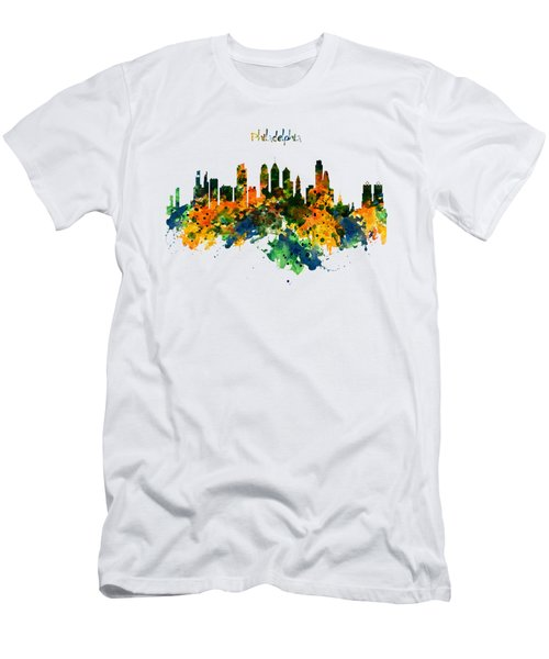 Philadelphia Watercolor Skyline Men's T-Shirt (Athletic Fit)