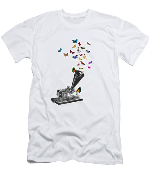 Phonograph And Butterflies Print Men's T-Shirt (Athletic Fit)