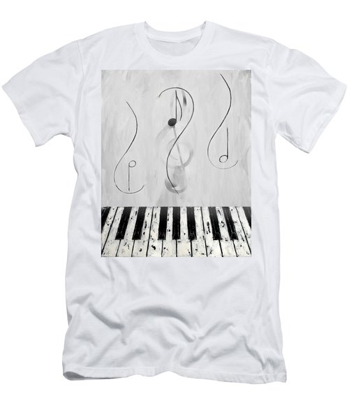 Piano Play B/w Men's T-Shirt (Athletic Fit)