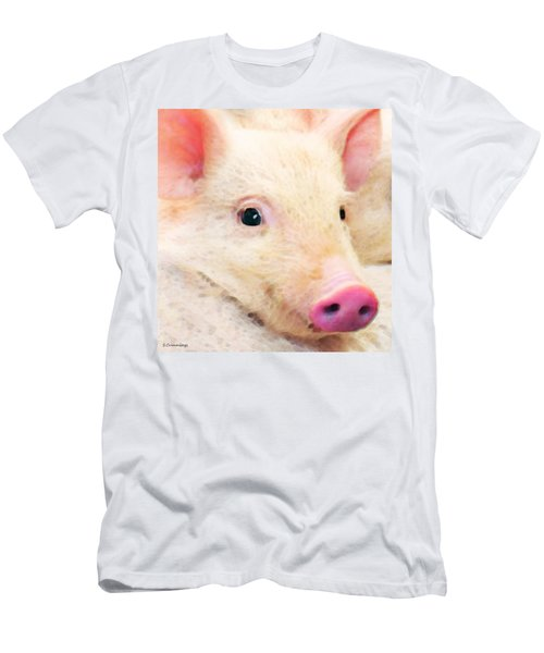 Pig Art - Pretty In Pink Men's T-Shirt (Athletic Fit)