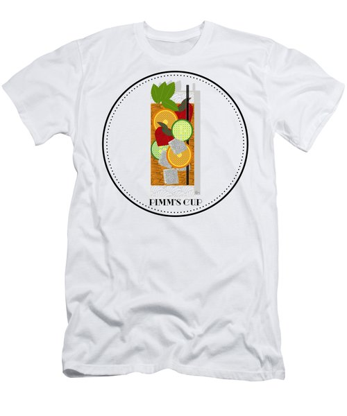Pimm's Cup Cocktail In Art Deco  Men's T-Shirt (Slim Fit) by Cecely Bloom