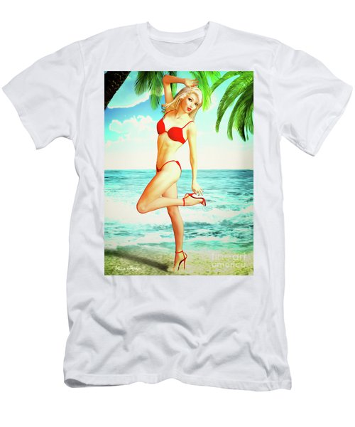 Pin-up Beach Blonde In Red Bikini Men's T-Shirt (Athletic Fit)