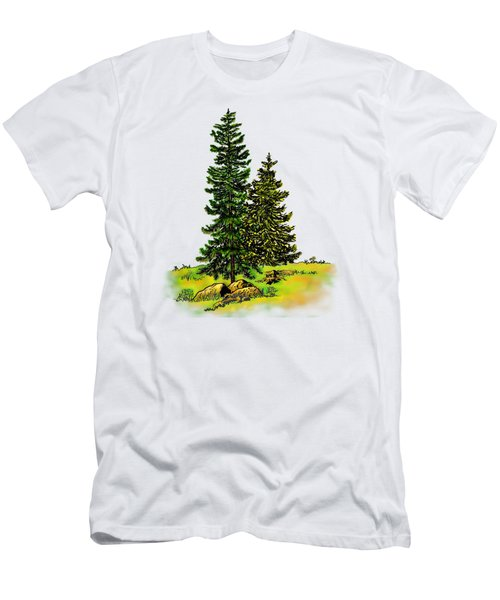 Pine Tree Nature Watercolor Ink Image 2b        Men's T-Shirt (Athletic Fit)