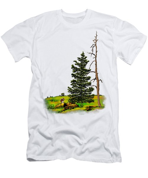 Pine Tree Nature Watercolor Ink Image 3         Men's T-Shirt (Athletic Fit)