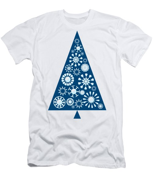 Pine Tree Snowflakes - Blue Men's T-Shirt (Athletic Fit)