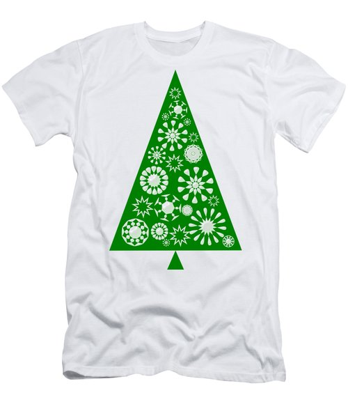 Pine Tree Snowflakes - Green Men's T-Shirt (Athletic Fit)