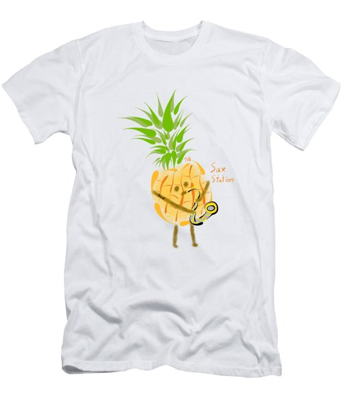 Pineapple Playing Saxophone Men's T-Shirt (Athletic Fit)