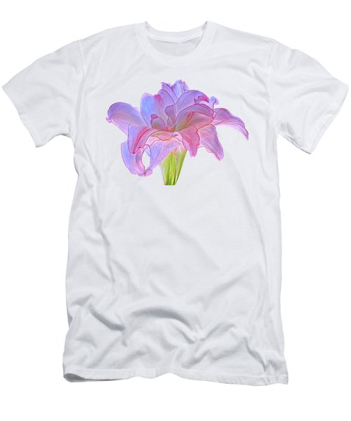 Pink And Purple Amaryllis On White Men's T-Shirt (Athletic Fit)