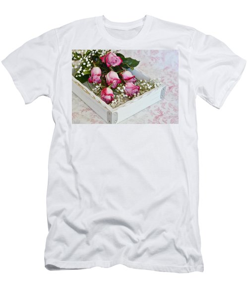 Pink And White Roses In White Box Men's T-Shirt (Slim Fit) by Diane Alexander
