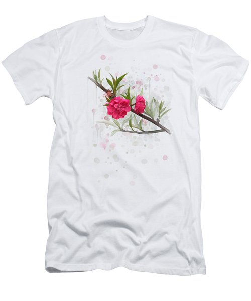 Men's T-Shirt (Athletic Fit) featuring the painting Hot Pink Blossom by Ivana Westin