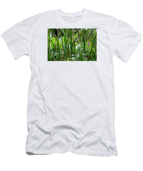 Pink Flower In The Grass Men's T-Shirt (Athletic Fit)