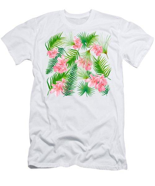 Pink Frangipani And Fern Leaves Men's T-Shirt (Slim Fit) by Jan Matson