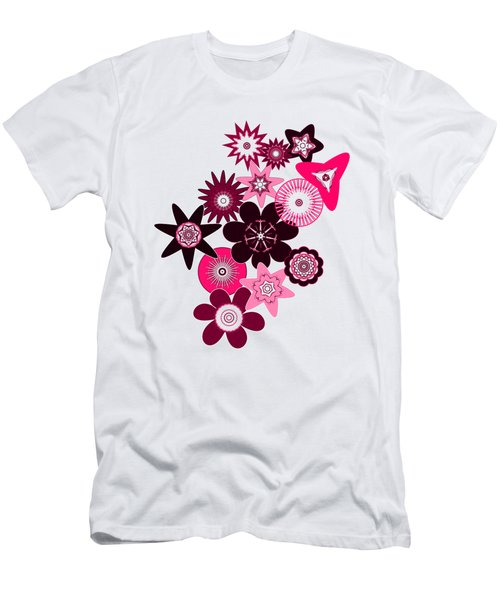 Pink Funky Flowers Men's T-Shirt (Slim Fit) by Methune Hively