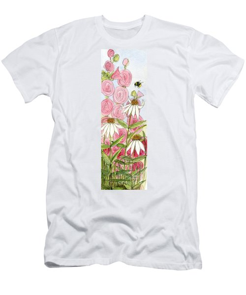 Pink Hollyhock And White Coneflowers Men's T-Shirt (Athletic Fit)