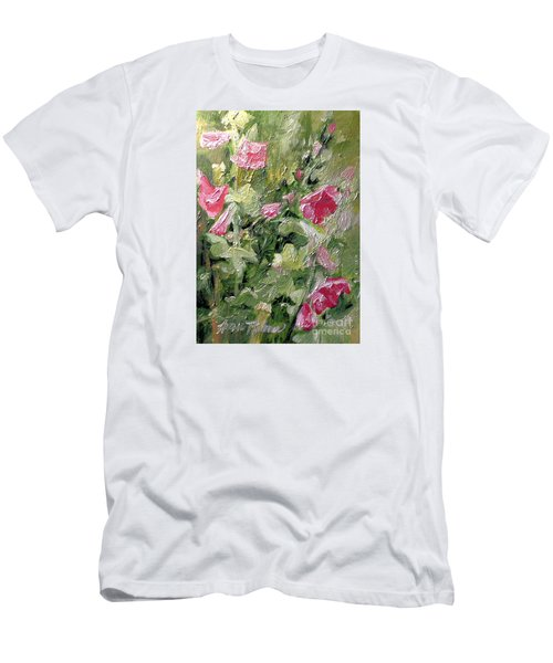 Pink Hollyhocks Men's T-Shirt (Slim Fit) by Laurie Rohner