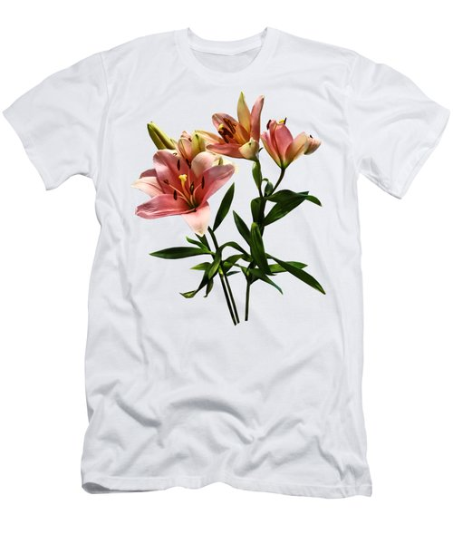 Pink Lily Trio Men's T-Shirt (Slim Fit) by Susan Savad