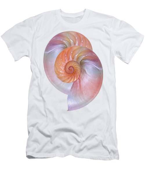 Pink Nautilus Pair On White Men's T-Shirt (Athletic Fit)