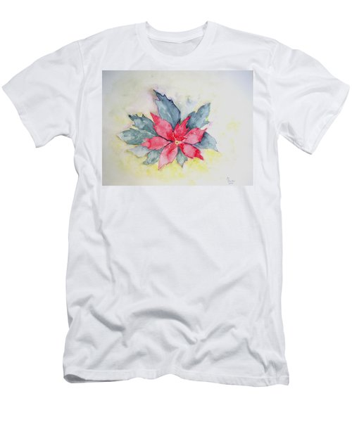 Pink Poinsetta On Blue Foliage Men's T-Shirt (Athletic Fit)