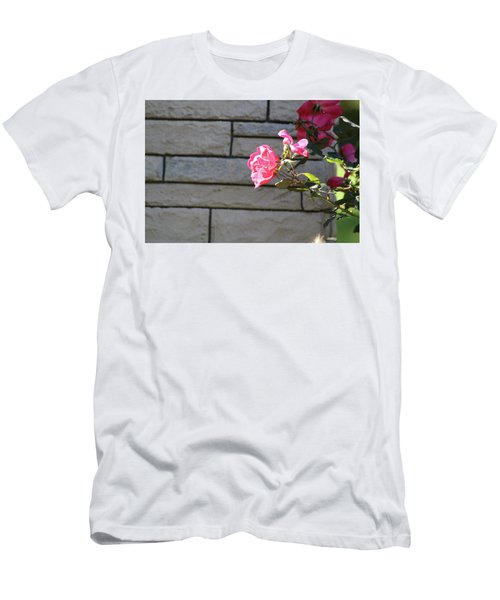Pink Rose Against Grey Bricks Men's T-Shirt (Slim Fit) by Michele Wilson