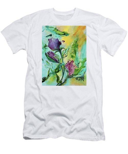 Pink Rosebuds Men's T-Shirt (Athletic Fit)