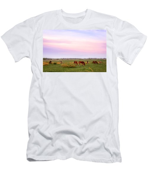 Men's T-Shirt (Athletic Fit) featuring the photograph Pink Sky Night by Melinda Ledsome