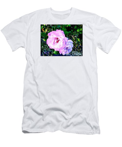 Men's T-Shirt (Slim Fit) featuring the photograph Pink - White Roses  2 by Sadie Reneau