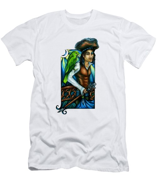 Pirate With Parrot Art Men's T-Shirt (Athletic Fit)