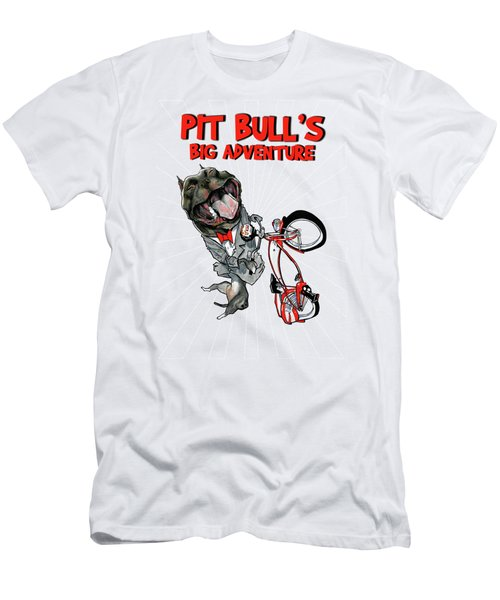 Pit Bull's Big Adventure Caricature Men's T-Shirt (Athletic Fit)