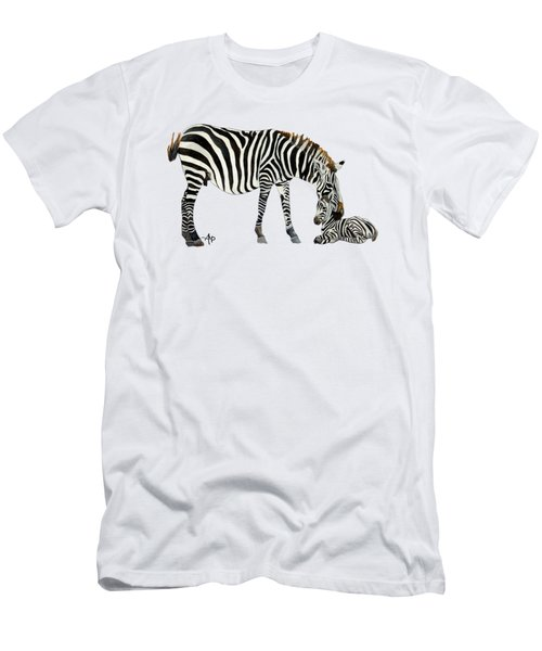 Men's T-Shirt (Athletic Fit) featuring the painting Plains Zebras by Angeles M Pomata