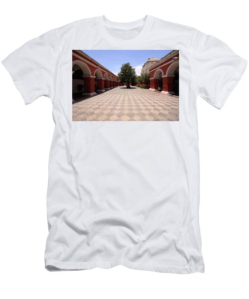 Men's T-Shirt (Slim Fit) featuring the photograph Plaza At Santa Catalina Monastery by Aidan Moran