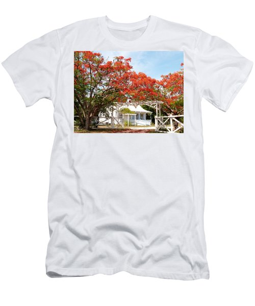 Poinciana Cottage Men's T-Shirt (Slim Fit) by Amar Sheow