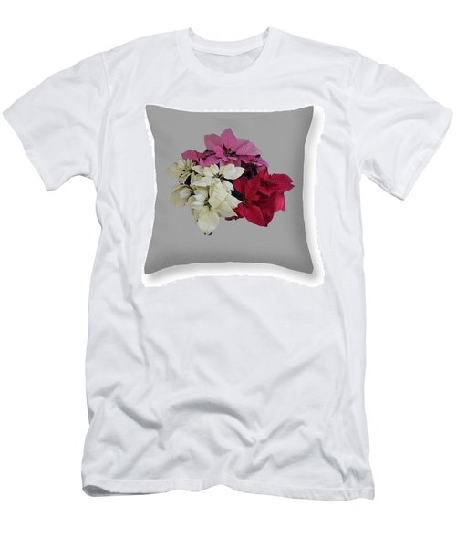 Men's T-Shirt (Slim Fit) featuring the photograph Poinsettias Pillow Grey Background  by R  Allen Swezey