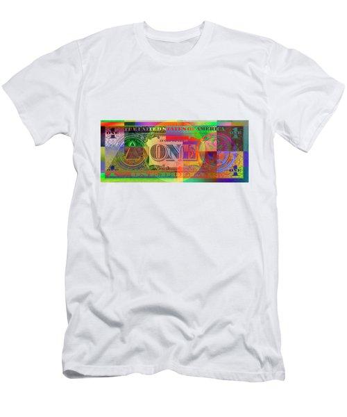 Pop-art Colorized One U. S. Dollar Bill Reverse Men's T-Shirt (Athletic Fit)