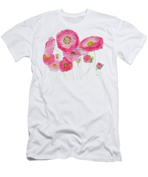 Poppy Painting On White Background Men's T-Shirt (Athletic Fit)
