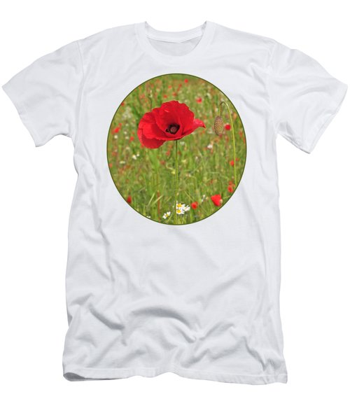 Poppy With Bud Men's T-Shirt (Athletic Fit)