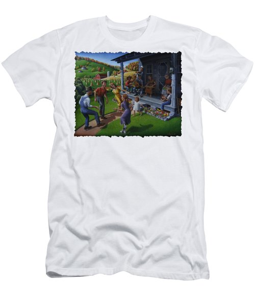 Porch Music And Flatfoot Dancing - Mountain Music - Appalachian Traditions - Appalachia Farm Men's T-Shirt (Athletic Fit)
