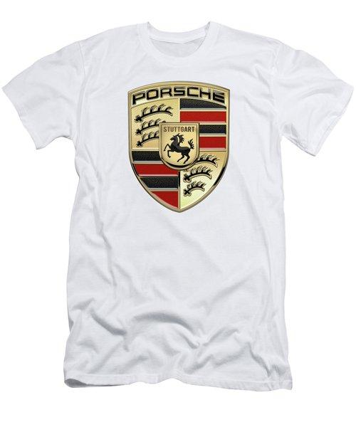 Porsche 3 D Badge Special Edition On White Men's T-Shirt (Athletic Fit)