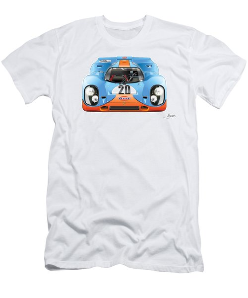 Porsche 917 Gulf On White Men's T-Shirt (Athletic Fit)