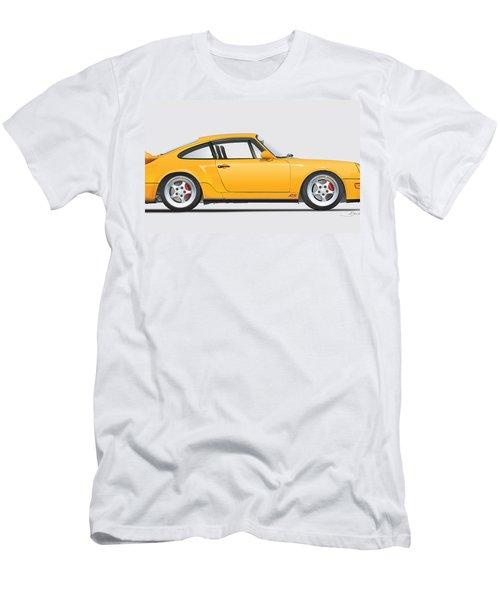Porsche 964 Carrera Rs Illustration In Yellow. Men's T-Shirt (Slim Fit) by Alain Jamar