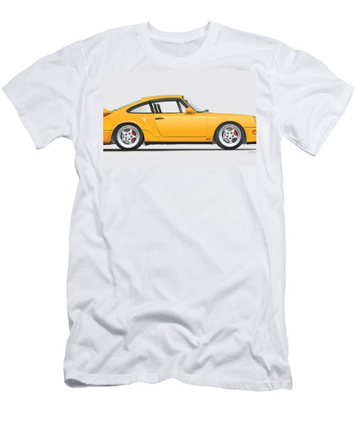 Porsche 964 Carrera Rs Illustration In Yellow. Men's T-Shirt (Athletic Fit)