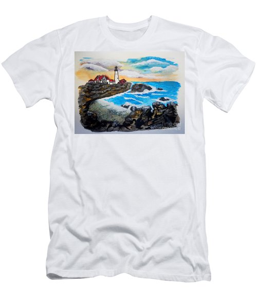 Porthead Lighthouse Maine In Watercolors Men's T-Shirt (Athletic Fit)