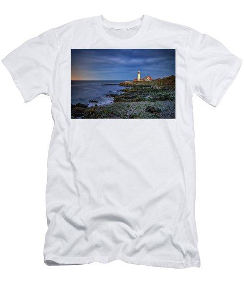 Men's T-Shirt (Slim Fit) featuring the photograph Portland Head Aglow by Rick Berk
