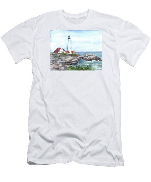 Portland Head Lighthouse Maine Usa Men's T-Shirt (Slim Fit) by Carol Wisniewski